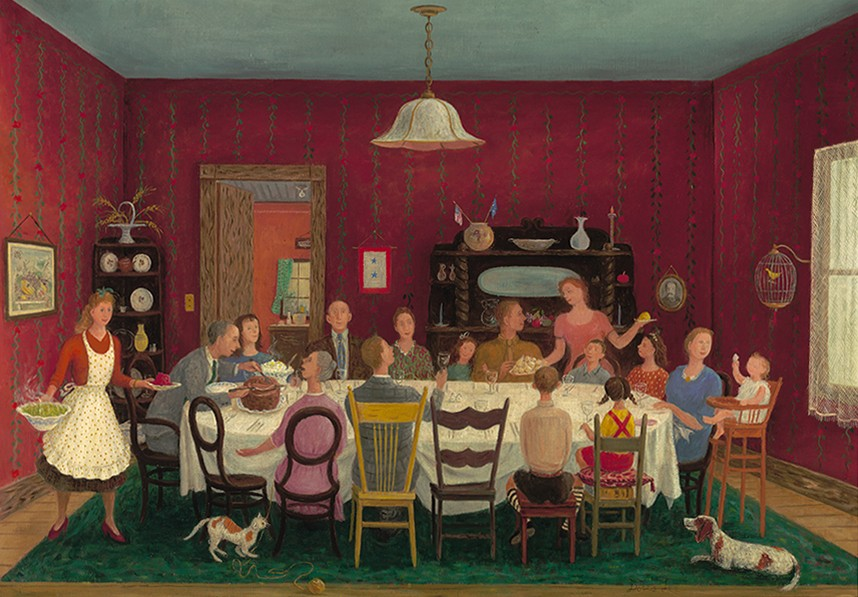 In this colorful work by Doris Lee, a large family is seen eating around an oval table.