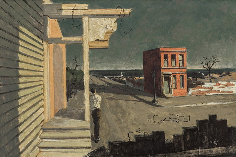 In the painting, a solitary figure stands with his back facing the viewer, gazing outward onto the bleak, abandoned landscape.