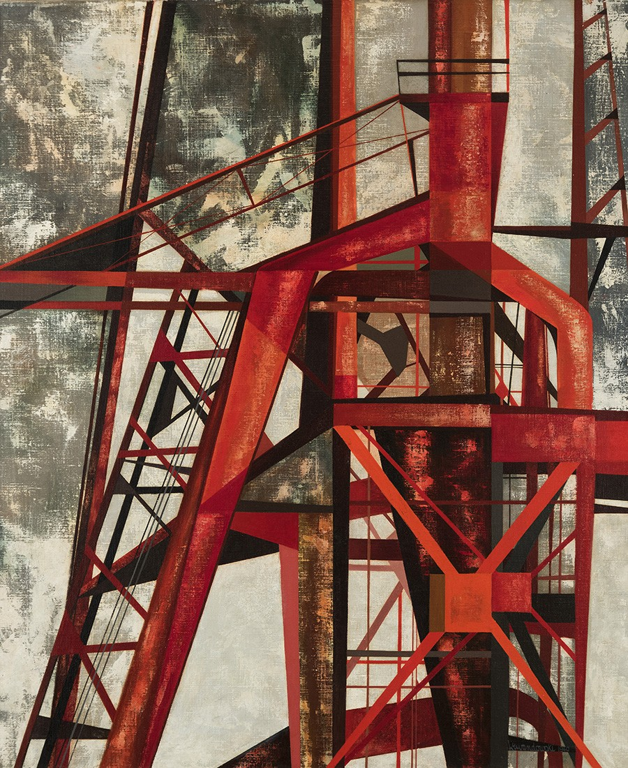 The work depicts a close-up perspective of the industrial form, seen from a plant's roof. Using abstraction, Lewandowski rendered the subject as a web of geometric forms and bright colors.