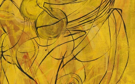 This work by Norman Wilfred Lewis is an abstract yellow composition