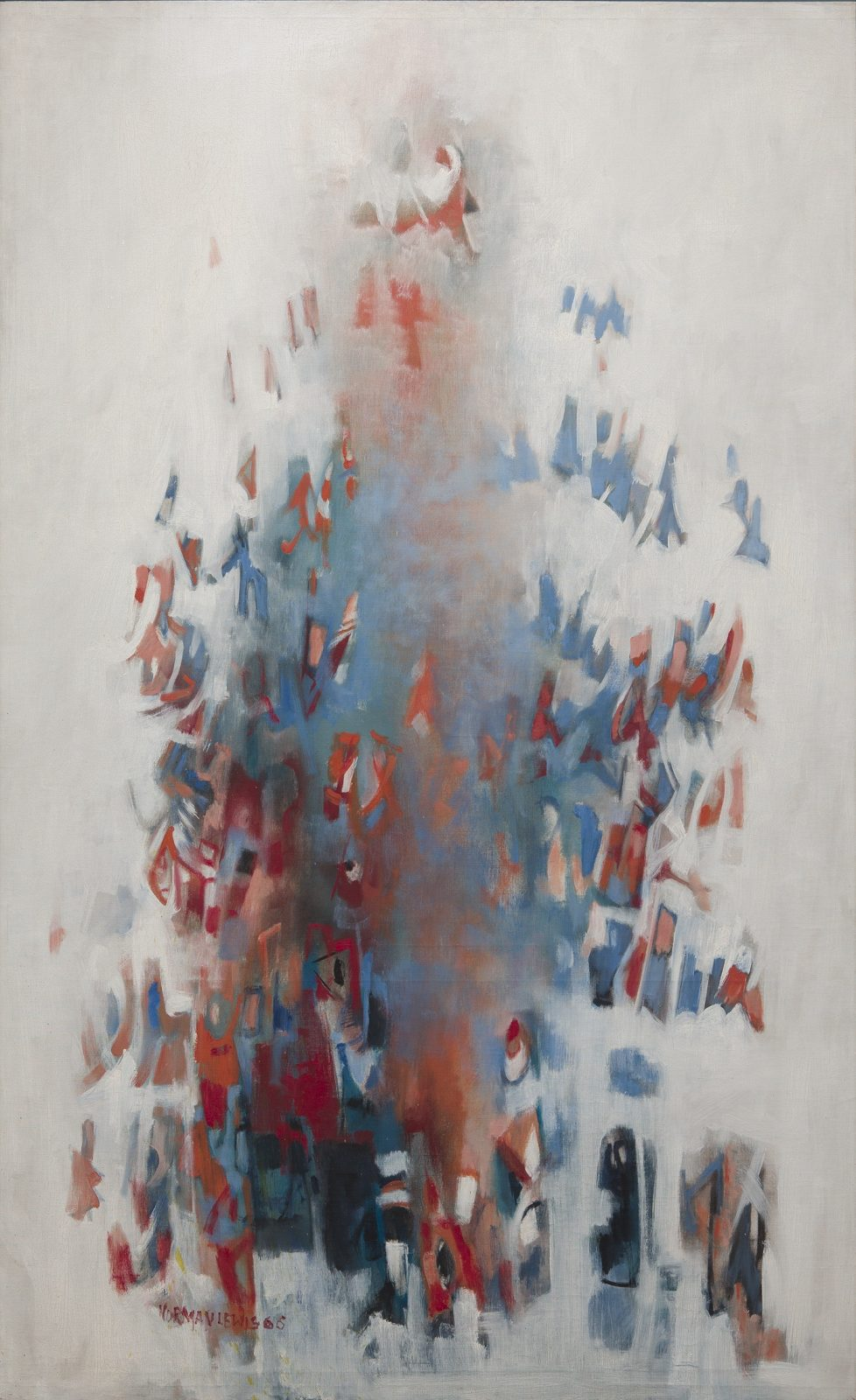 This work by Norman Wilfred Lewis is an abstract composition in white, red and blue
