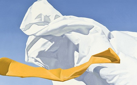 This work by David Ligare depicts a stark white cloth billowed by strong coastal winds.