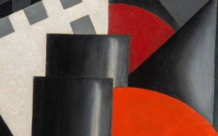 Louis Lozowick's work depicts an abstract city view in dark grey tones, with bright red circles