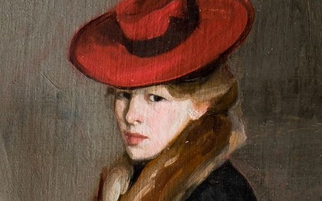 This work by Alfred Henry Maurer shows a woman in a red hat and elegant clothes, seated and holding a hat box