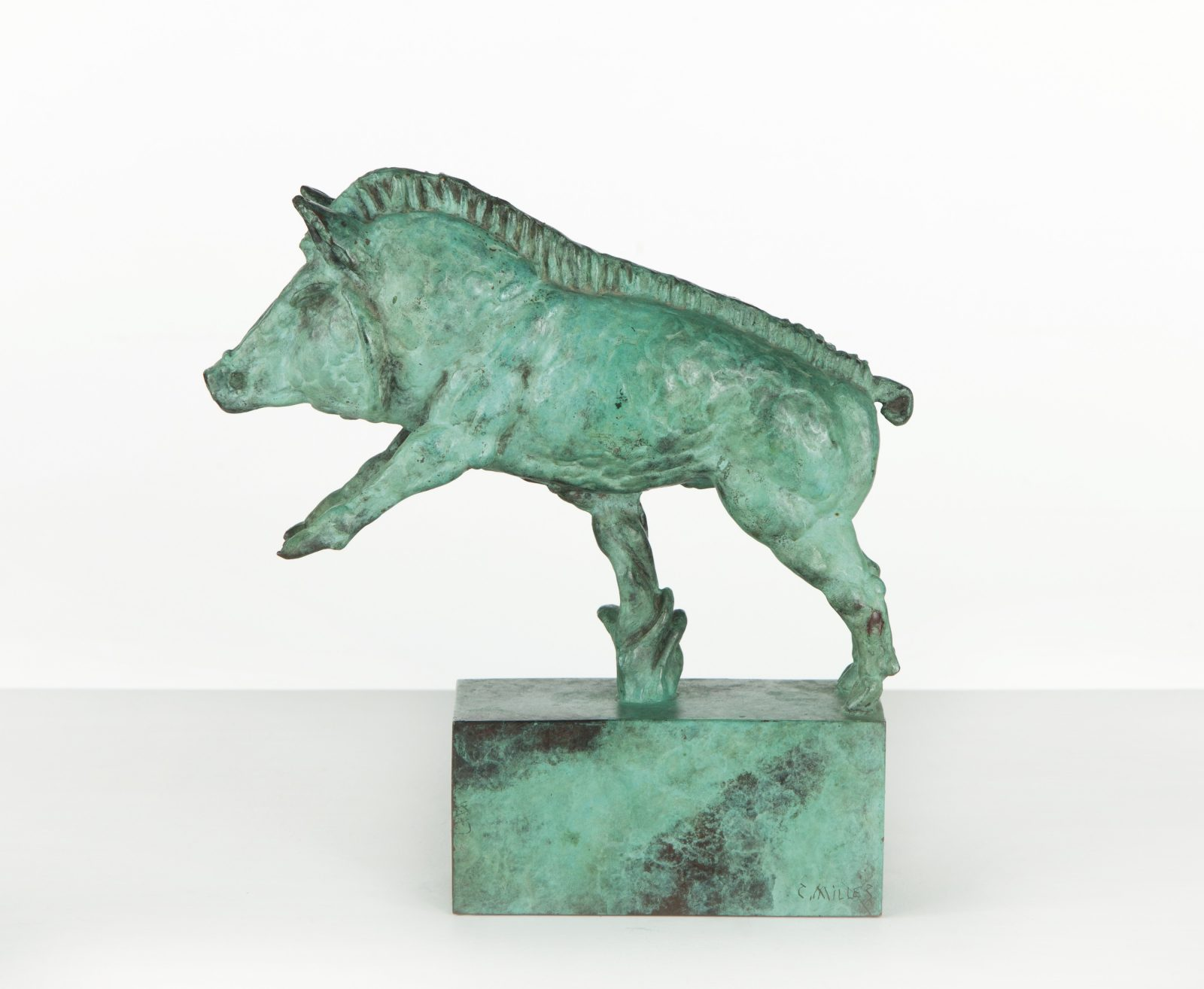 This work by Carl Milles shows a small boar in bronze