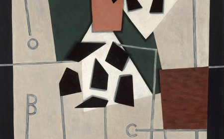 In this work by George L. K. Morris, fractured, overlapping shapes of various colors are arranged on the canvas in a kaleidoscopic formation.
