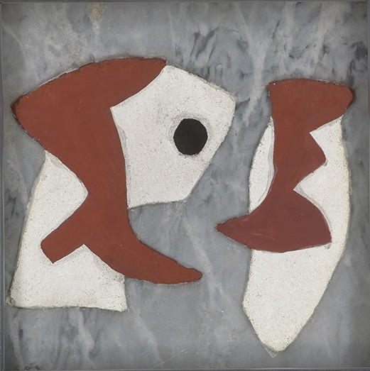 George L.K. Morris, American, 1905-1975. Opposition of Forms, 1945. Tempera fresco relief on marble. 8 x 8 inches. Signed and dated on verso.