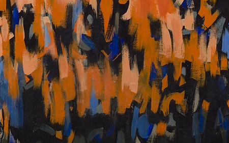 In this work by Norman Lewis, he vivid contrasts of fiery red and orange against black evoke flickering flames ascending the canvas.