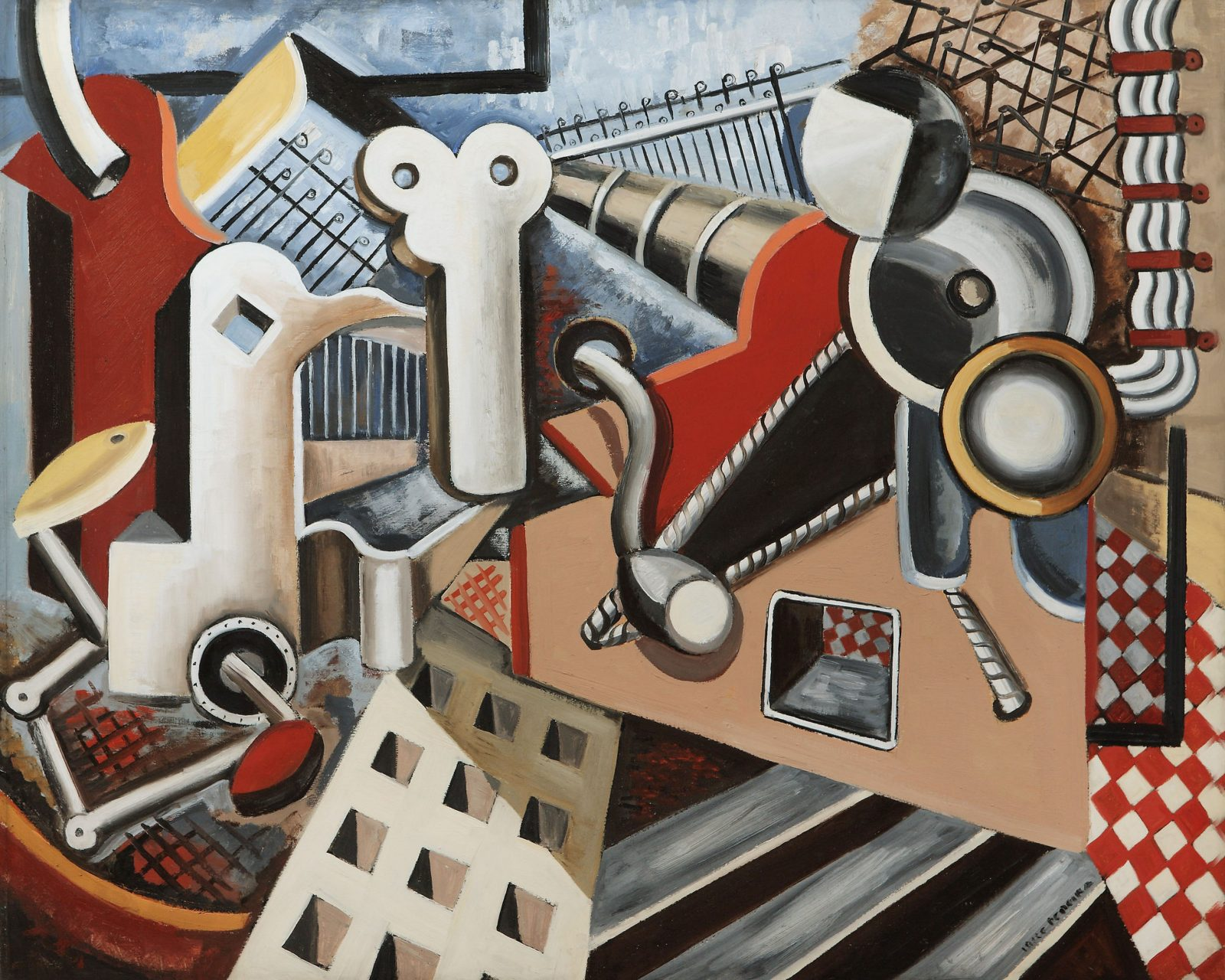 This work by Irene Rice Pereira shows an industrial composition inspired by cubism