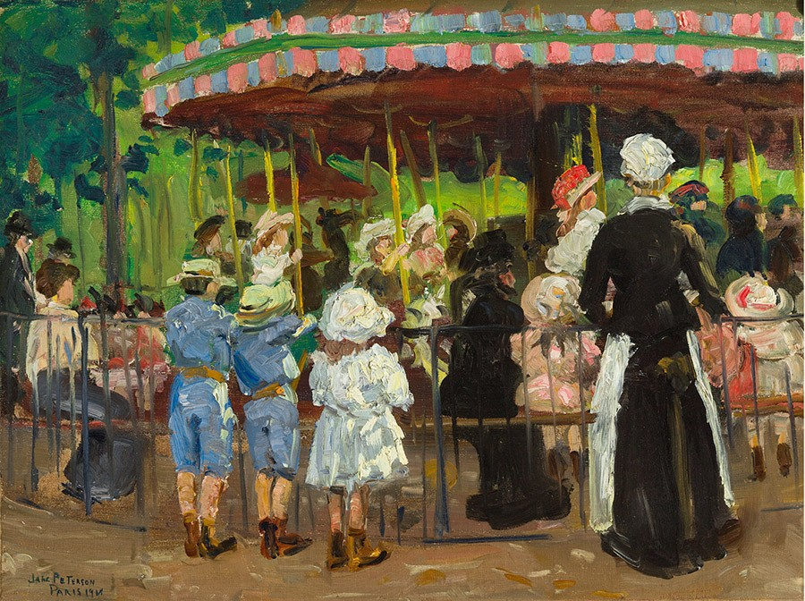 Detail of a work by Jane Peterson showing characters enjoying a carousel in Paris