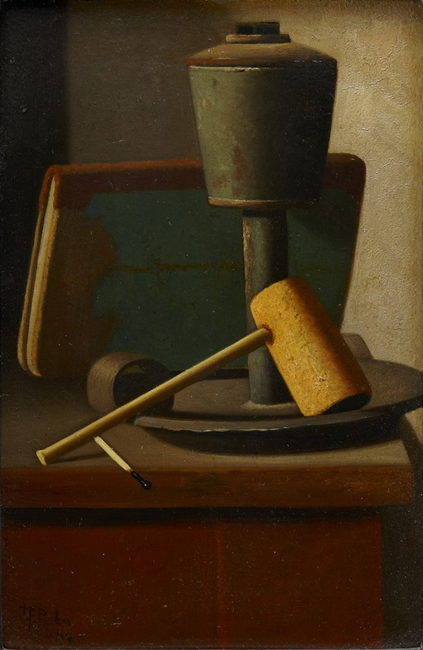 Detail of the artwork showing a pipe and a burned match