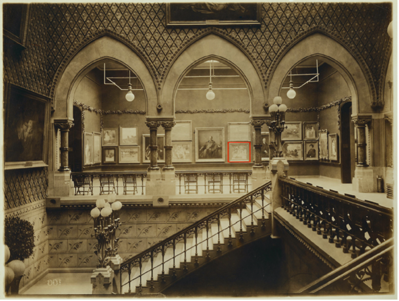 Installation photograph of the South Corridor, facing south, at the Pennsylvania Academy of the Fine Arts, 1911, illustrating In Apron Strings hanging center right.