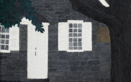 In this work by Horace Pippin, a few trees are seen in front of a row of houses