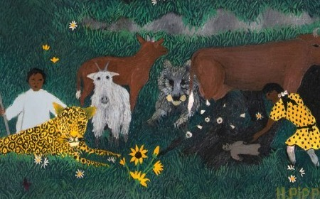 In this work by Horace Pippin, characters and animals are seen in the woods