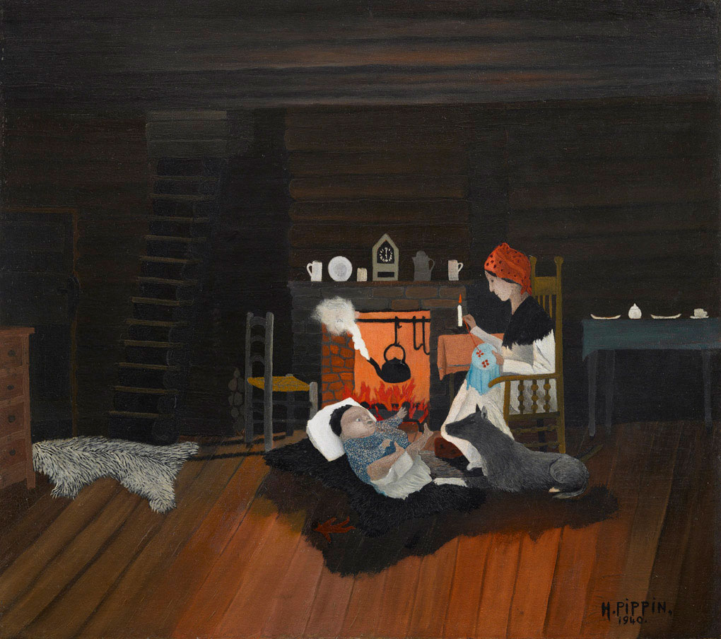 In this work by Horace Pippin, a woman does her needlework and keeps watch over the baby on a fur rug at her feet