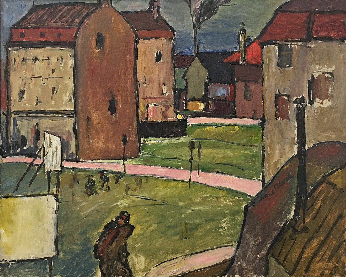 This works depicts a green lawn with a pink road in between tall houses and buildings