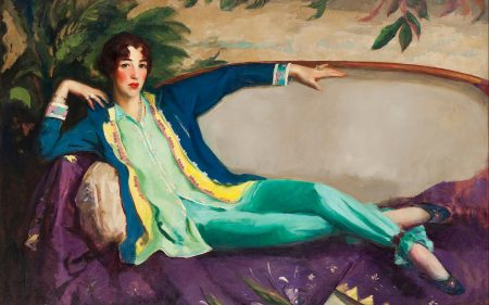 A portrait of Gertrude Vanderbilt Whitney lounging.