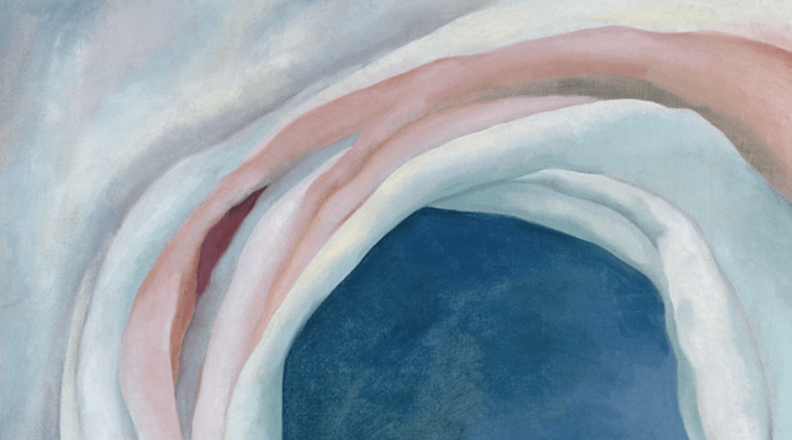 "Detail of the blues and pinks in Georgia O'Keeffe's painting ""Pink and Blue No. 1"""
