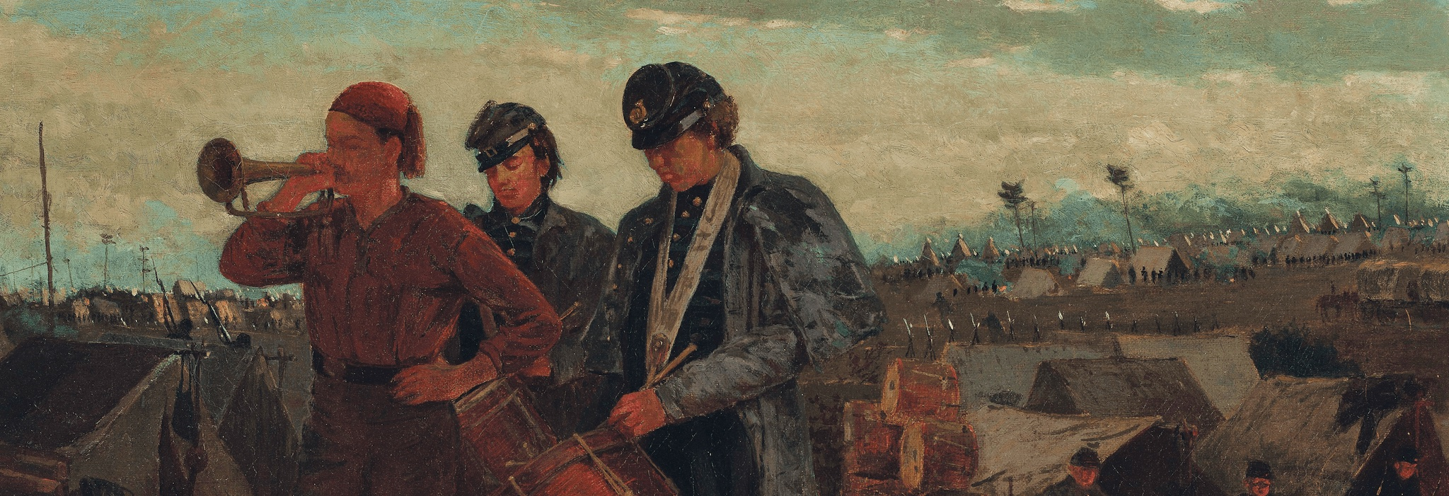 Detail of Union troops playing morning taps during the Civil War.