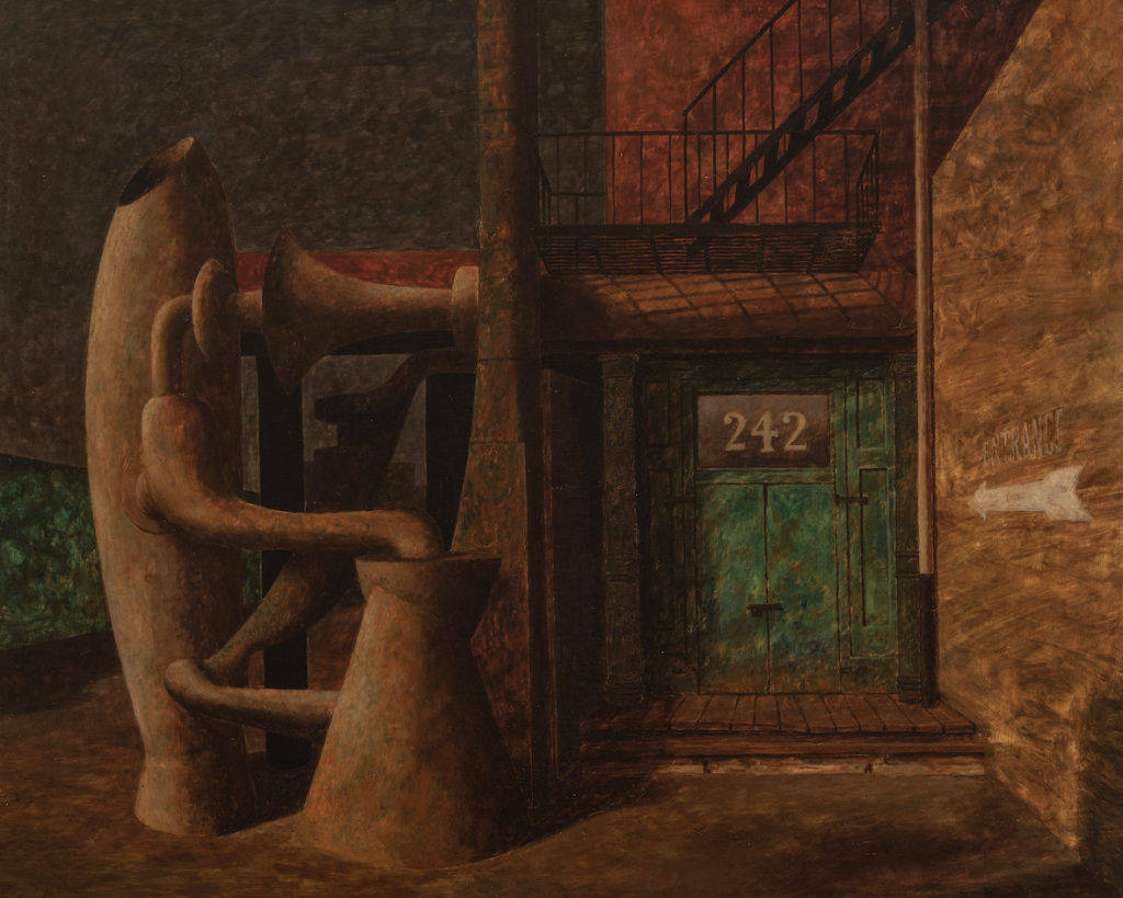 A surrealist painting featuring a green door labelled 242.