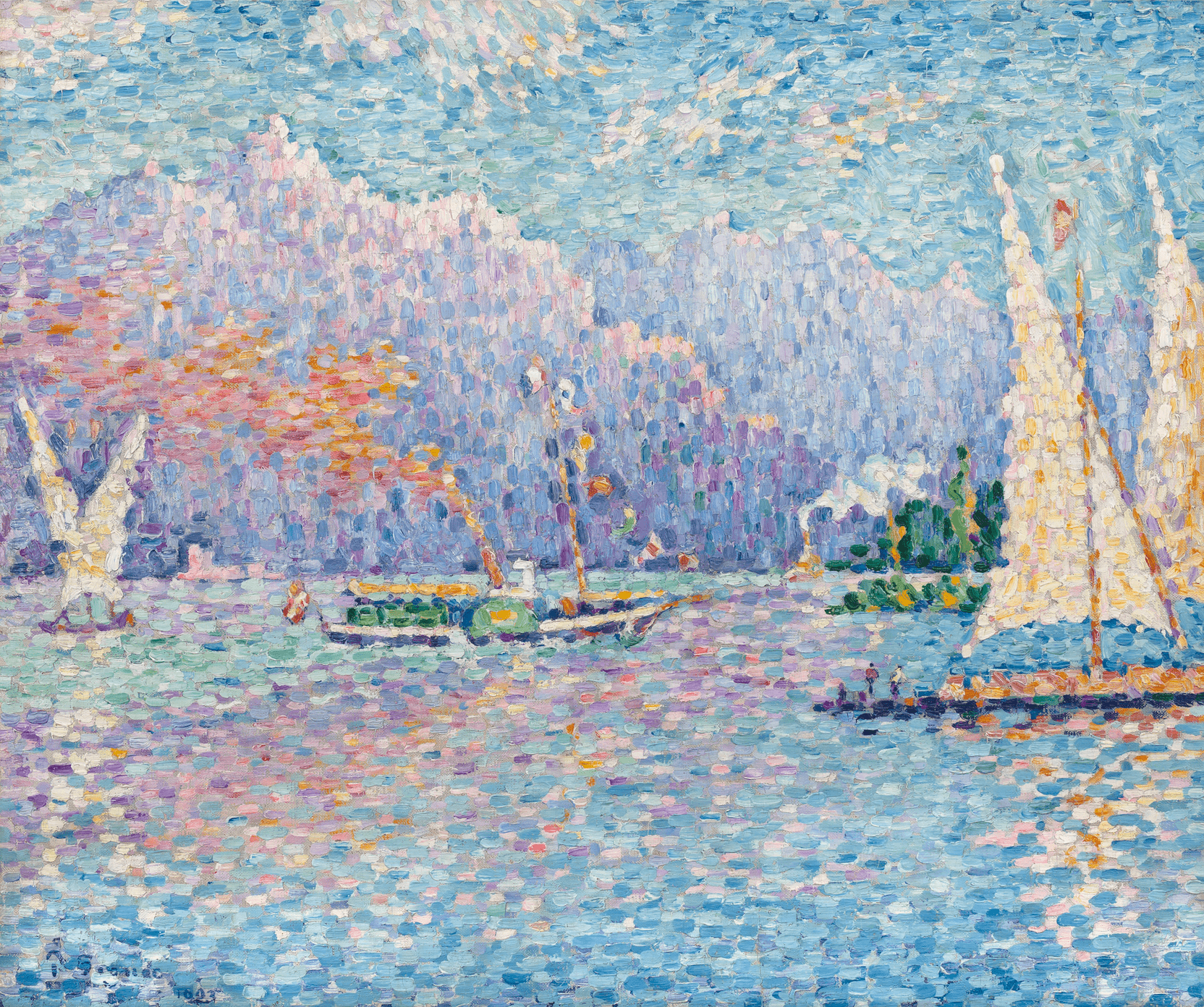 A pointilist depiction of Lake Geneva with sailboats.