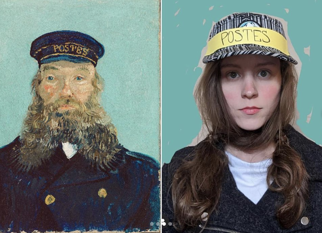 "A side-by-side comparison of Vincent van Gogh's ""Portrait of Postman Roulin"" and a woman modeled after the sitter."