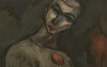 Detail of Albert Bloch's painting of a carnival figure.