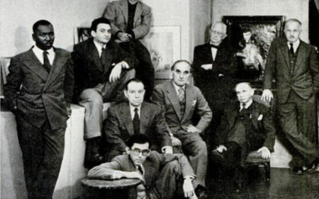 A group portrait of artists represented by Downtown Gallery.