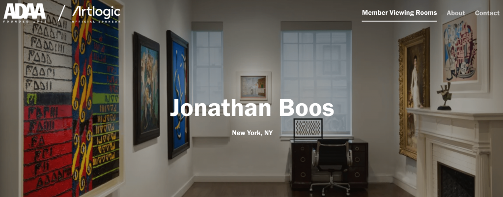The entrance to Jonathan Boos' ADAA Online Viewing Room.