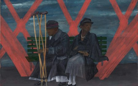 Red and blue gouache on paper showing two characters sitting on a bench