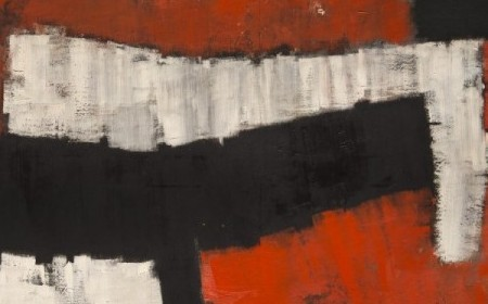 This abstract work by Charles Green Shaw shows broad brushstrokes and white, black and red shapes