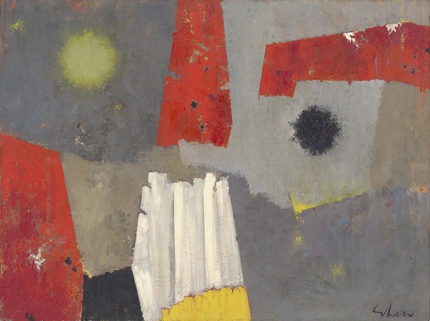 Red and yellow shapes contrast with the neutral gray tones on the canvas in this Charles Green Shaw painting