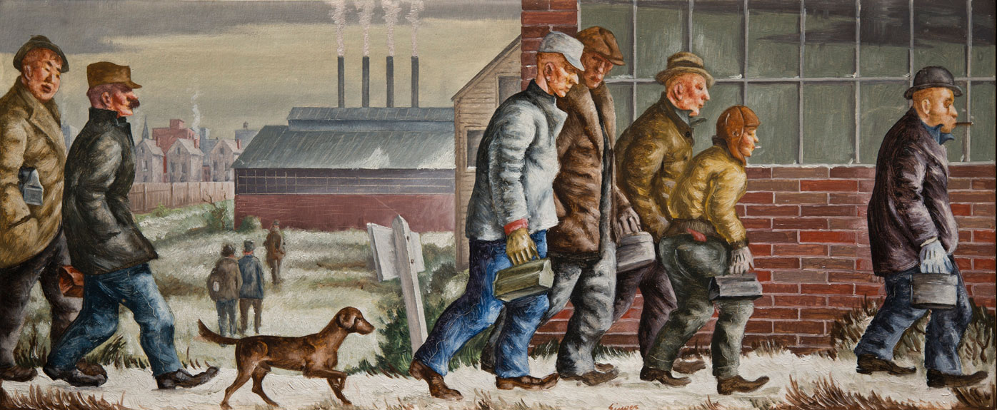 This scene by Clyde Singer depicts workers walking to work in front of an industrial view