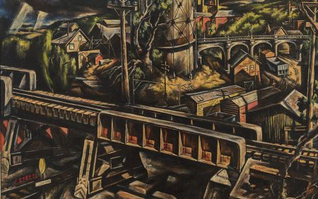 This work by Jack Steele shows an industrial landscape with railroads