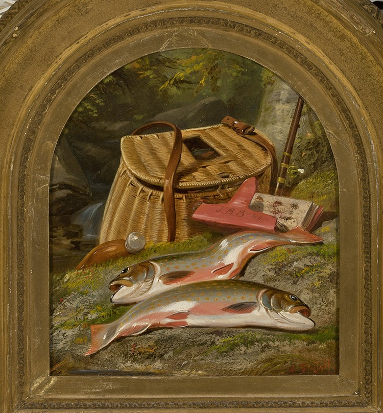 This paiting shows two dead fish next to a fishing basker