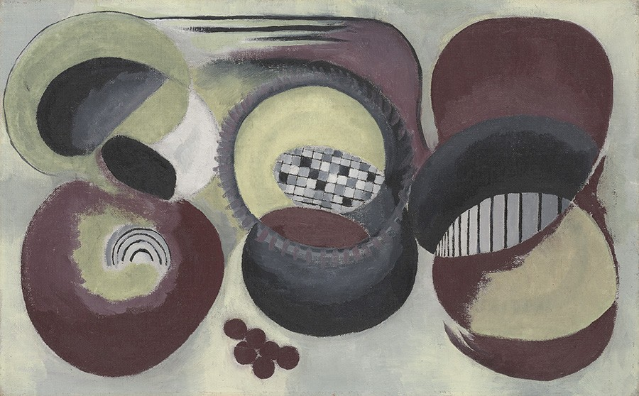 This Helen Torr work is an abstract composition showing a balance of rhythm and control in muted shades of maroons, olives, and grays