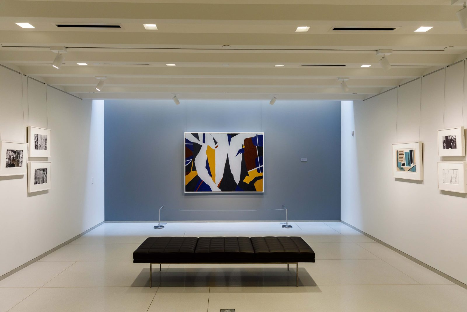 """Installation image of the """"Ralston Crawford: Torn Signs"""" exhibition at the Vilcek Foundation."""