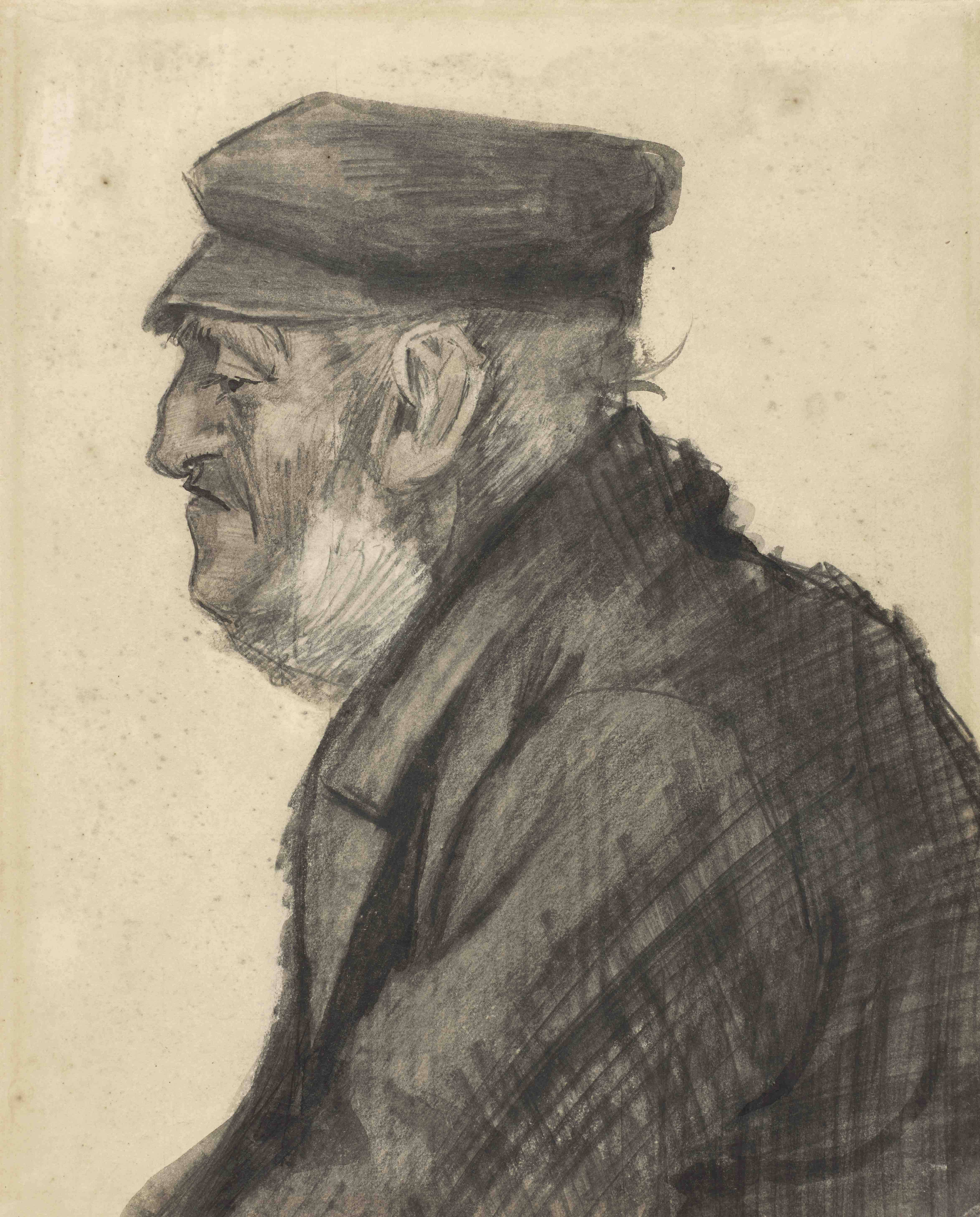 A portrait of a homeless man in profile by Vincent van Gogh.