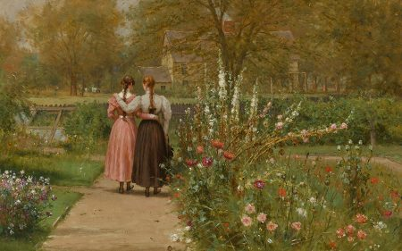 Two female figures are seen from the back, walking in a flowery garden