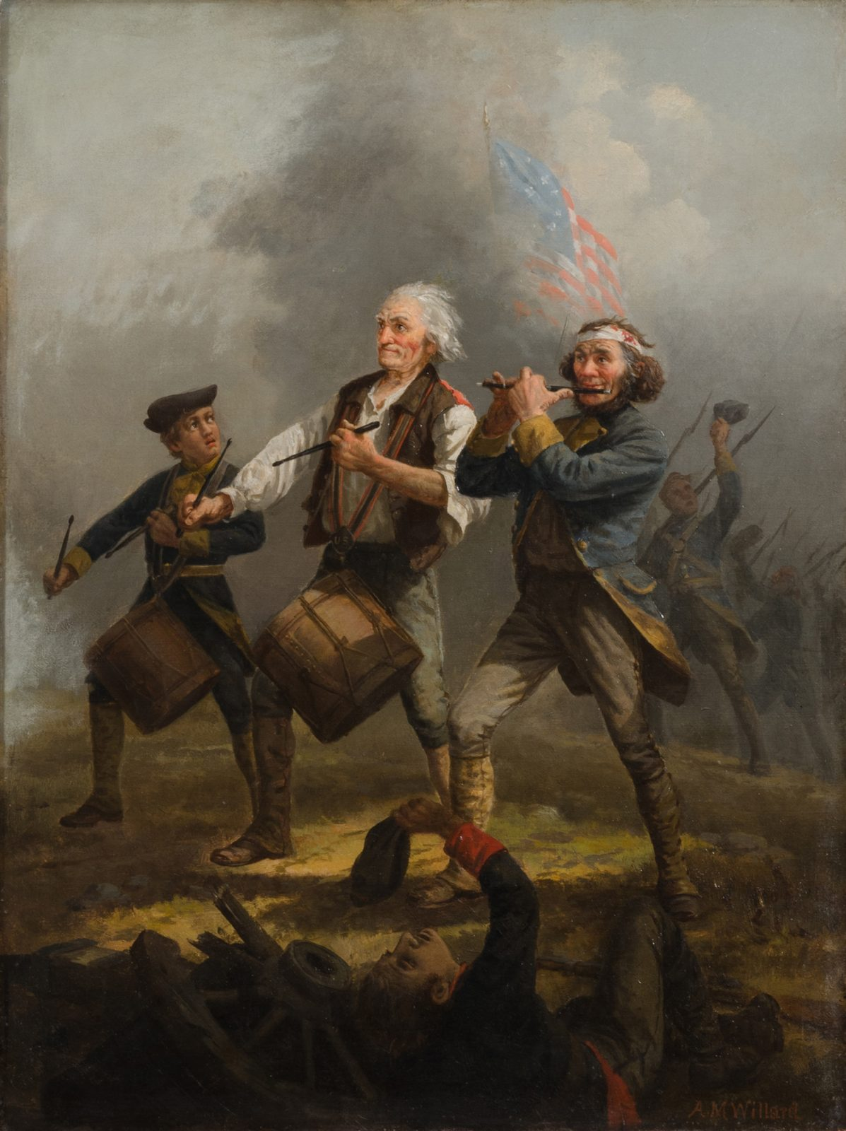 This work shows three music players, with soldiers in the background and foreground, with an American flag in the sky
