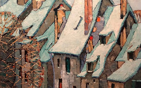 This detail shows roofs in medieval Chartres covered in snow