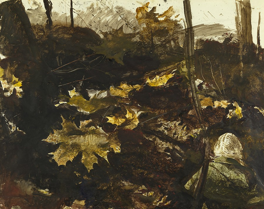 This painting shows a blond woman from behind. She is seen walking between falling leaves and wearing a cape coat