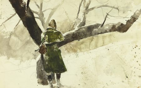 This work shows a woman from behind. She is walking on snow near a tree and wearing a green coat