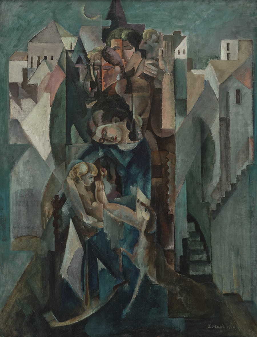 In blue and green tones, this picture is of a mother and child in the interior of a house. It is a cubist conception where the mother's activities with her child are portrayed simultaneously