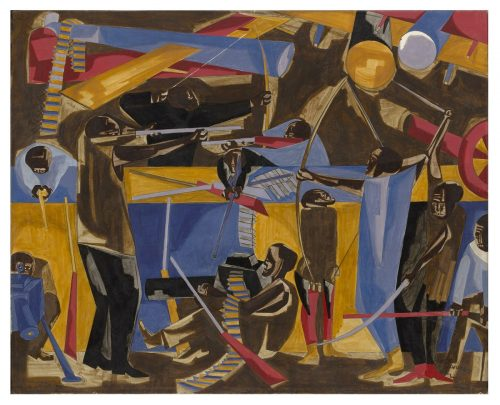 Colorful painting by Jacob Lawrence showing red, blue and yellow shapes forming characters