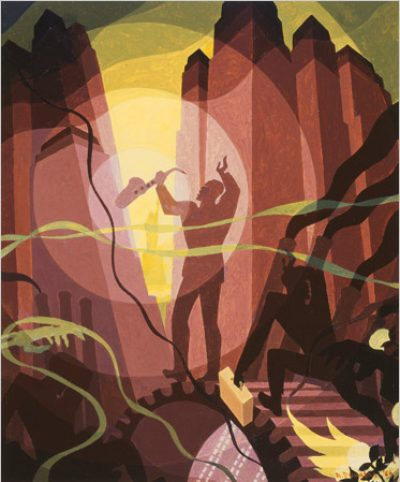 Aaron Douglas, American, 1899–1979. Song of the Towers, 1966. Oil and tempera on canvas. 76.2 × 63.5 cm (30 × 25 in.). Milwaukee Art Museum.