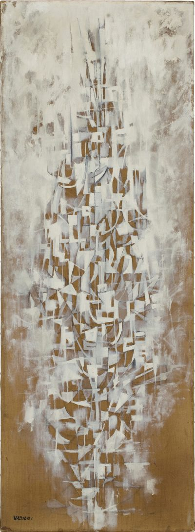 This work by Norman Wilfred Lewis is an abstraction in white over brown linen canvas