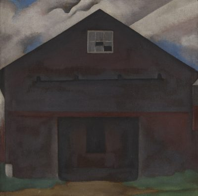 This work by Georgia O'Keeffe depicts the facade of a barn