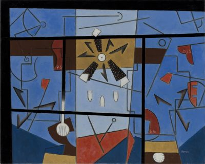This work by George L. K. Morris is a bright abstraction with red, brown and black shapes on a blue background