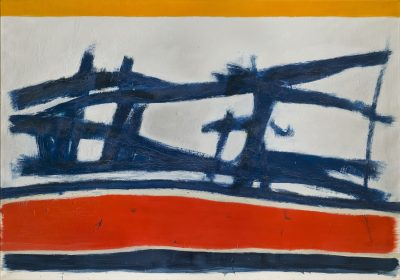 This work by Jack Tworkov is an abstract composition in blue, red and white